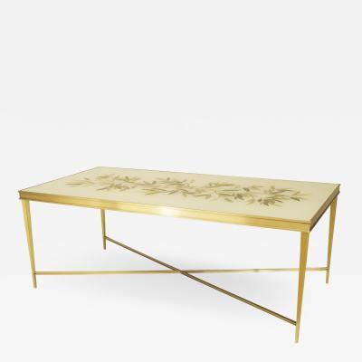 Miriam Ellner Louis XVI Style Bronze Floral Aglomise Coffee Table