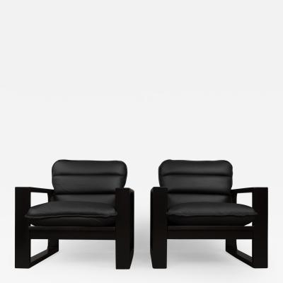 Miroslav Navratil Miroslav Navratil black wood and leather lounge chairs