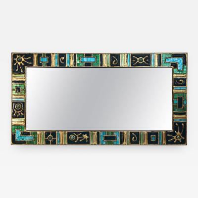 Mirror Wooden Stand Glass Cold Enamel circa 1970 France