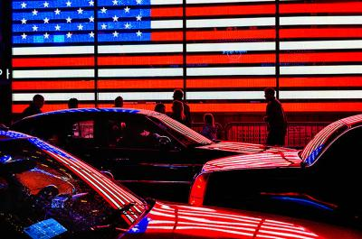 Mitchell Funk American Flag in Times Square