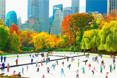 Mitchell Funk Ice Skaters in Central Park Rink Panoramic view of the Skyline Autumn Colors