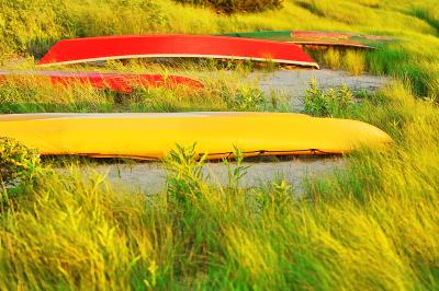 Mitchell Funk Red and Yellow Boats in East Hampton