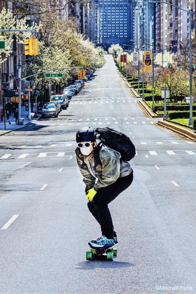 Mitchell Funk Skateboarder on Empty Park Avenue Covid 19 New York