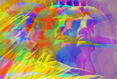 Mitchell Funk Statue of liberty with colorful multiple exposures
