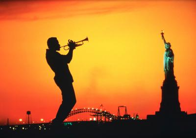 Mitchell Funk Trumpet Jazz Musician and Statue of Liberty