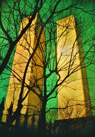Mitchell Funk Twin Towers World Trade Center with Green Filter