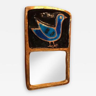 Mithe Espelt Ceramic Mirror by Mith Espelt France 1970s