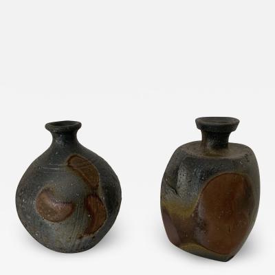 Miyao Masahiro Pair of Contemporary Sake Bottles by Miyao Masahiro