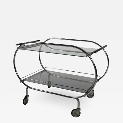 Mobile Art Deco Serving Trolley Chromed Tubular Steel Glass France circa 1925