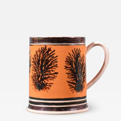Mocha Pottery Mug with Luster and Seaweed Decoration