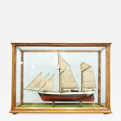 Model Ship in a Glass Case with Teak Frame France 1960s A
