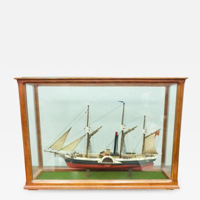 Model Ship in a Glass Case with Teak Frame France 1960s B
