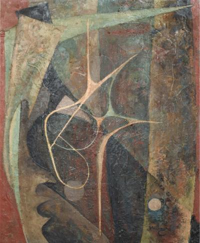 Modern Abstract Dark Mystery Oil Painting Masonite signed Worthington 1960s USA