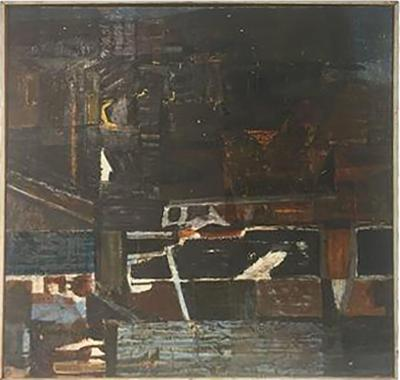 Modern Abstract Painting Titled Night and Dated 1960