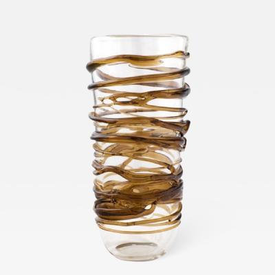 Modern Amber Swirl Murano Glass Vase