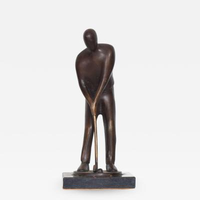 Modern Art Abstract Bronze Sculpture Faceless Golf Player Statue