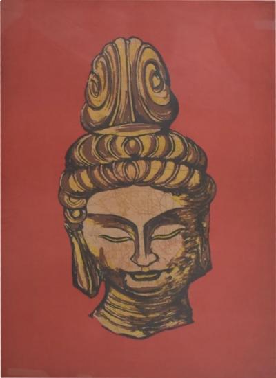 Modern Batik Art Buddha Head Red Gold Chinese