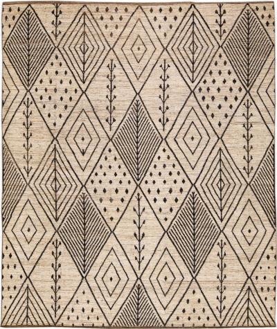 Modern Beige Moroccan Style Handmade Boho Designed Oversize Wool Rug