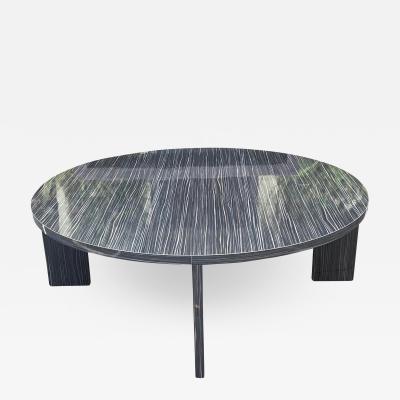 Modern Black Macassar Zebrawood Round Coffee Table