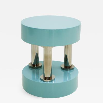 Modern Blue Lacquered and Steel German Coffee Table In the Style Of Memphis
