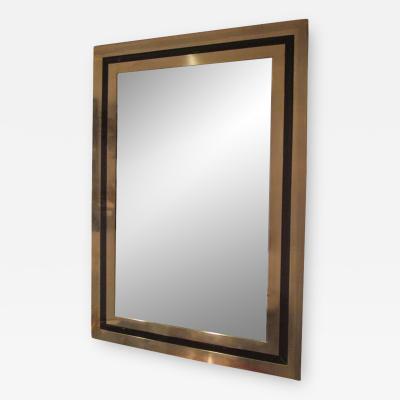 Modern Brass Mirror Inlaid with Black Glass