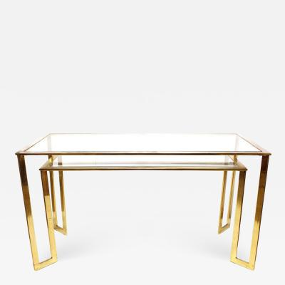 Modern Brass Plated Two Tier Desk or Console Table