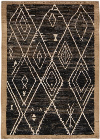 Modern Brown Moroccan Style Handmade Geometric Boho Wool Rug
