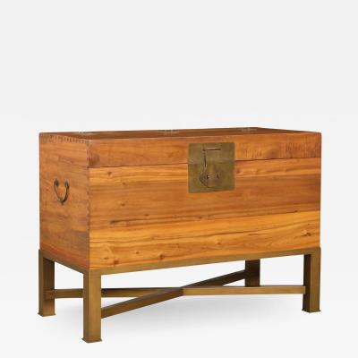 Modern Chinese Blanket Chest Trunk on Stand