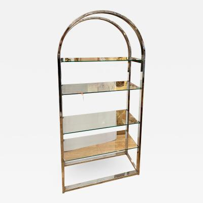 Modern Chrome Glass Arched Etagere Display Shelving Unit