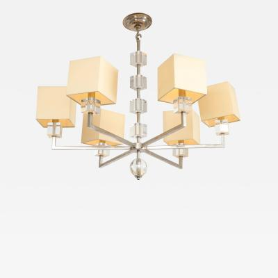 Modern Chrome and Lucite Chandelier