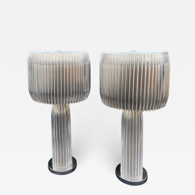 Modern Designer Polished Steel Designer Lamps a Pair