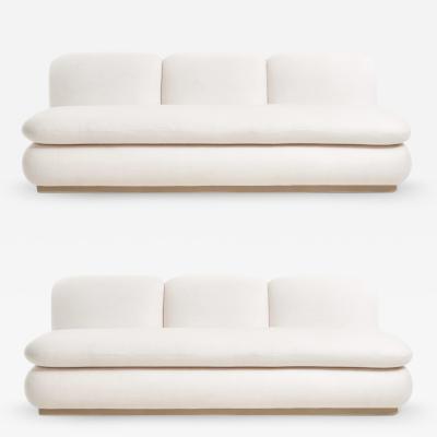 Modern Drama White Boucle Pouf Sofa