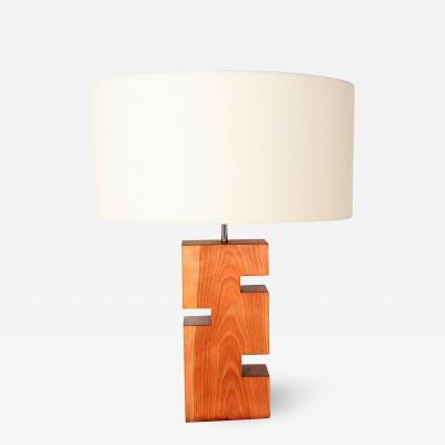 Modern Geometric Wood Block Table Lamp Mid Century