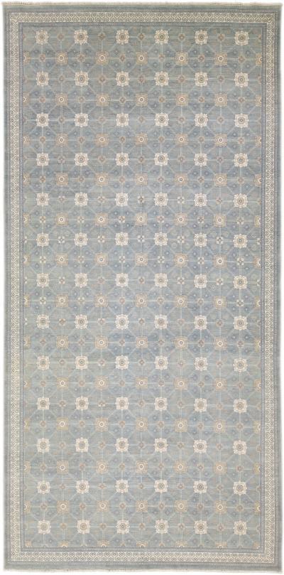 Modern Gray Khotan Style Handmade Geometric Designed Wool Rug