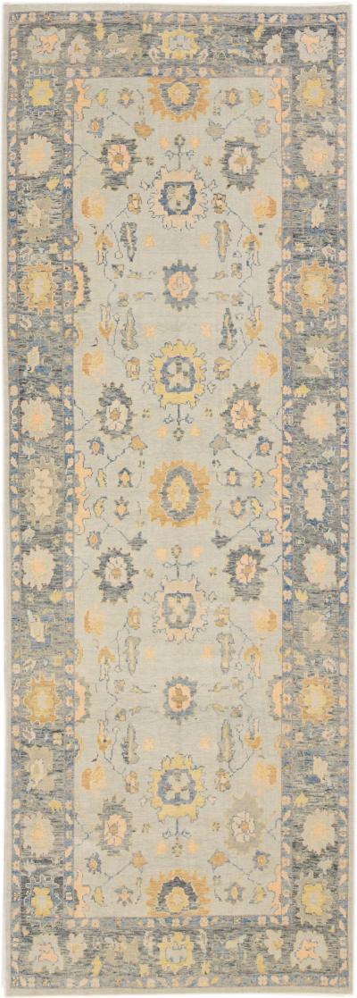 Modern Gray Turkish Oushak Handmade Floral Wide Gallery Wool Runner
