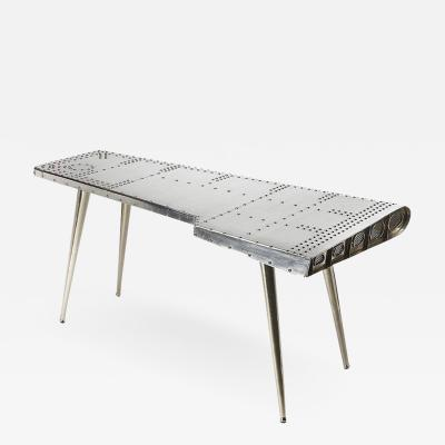 Modern Industrial Aviator Silver Airplane Wing Writing Desk Table