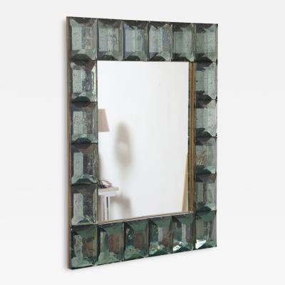 Modern Italian Aqua Green Faceted Glass Mirror