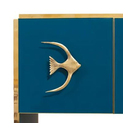 Modern Italian Custom Brass Edged Fish Marine Teal Blue Cabinet