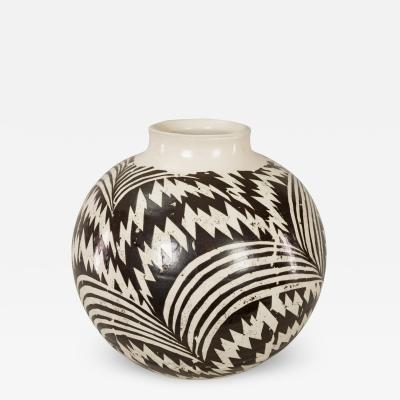 Modern Japanese Black and White Ceramic Studio Vase