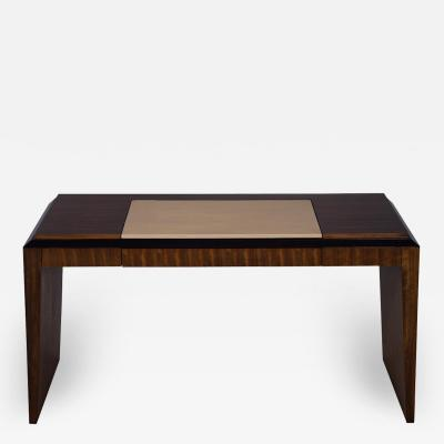 Modern Leather Top Desk in Zebrawood