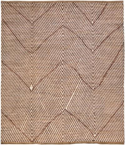 Modern Moroccan Style Handmade Abstract Brown Boho Oversize Wool Rug