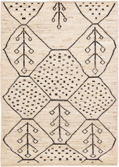 Modern Moroccan Style Handmade Geometric Motif Beige Boho Wool Rug