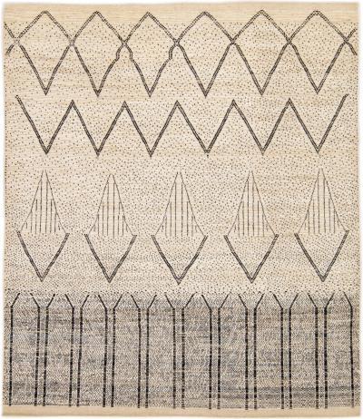 Modern Moroccan Style Handmade Geometric Pattern Beige And Gray Boho Wool Rug