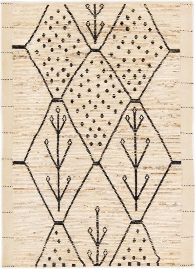Modern Moroccan Style Handmade Geometric Pattern Beige Boho Wool Rug