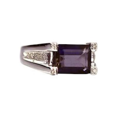 Modern Natural Iolite and Diamond Ring in 14KT White Gold