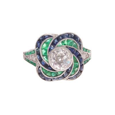 Modern Old European Cut Diamond Emerald Sapphire Platinum Engagement Ring