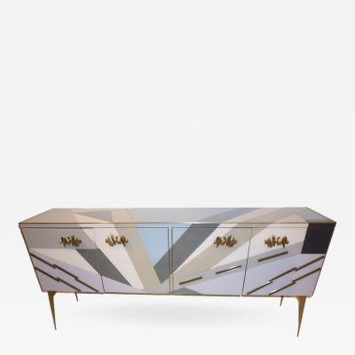 Modern One of a Kind Italian Pop Design Pastel Colored Glass Sideboard Cabinet