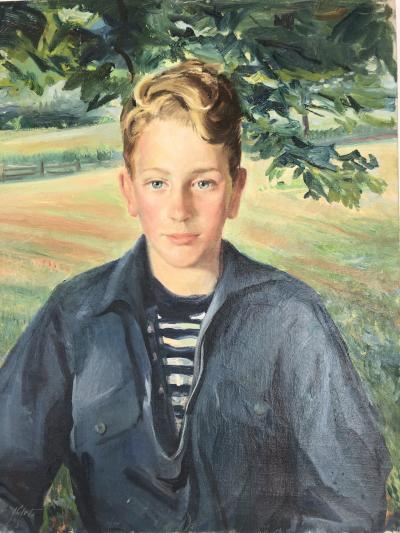 Modern Portrait Boy In The Landscape Illegibly Signed