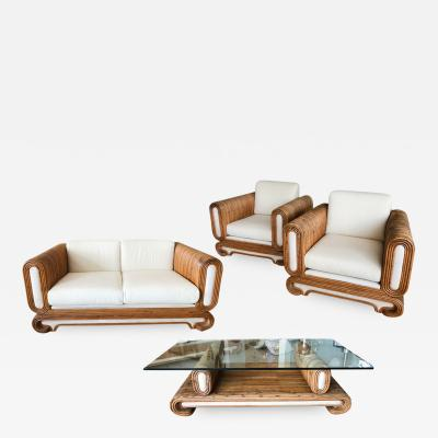Modern Rattan Set Love Seat Pair of Chairs and Coffee Table