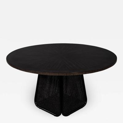Modern Round Dining Table with Black Cane Pedestal